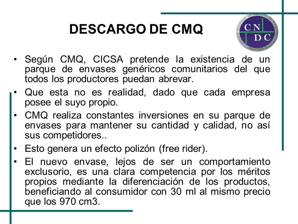 DESCARGO DE CMQ Según CMQ, CICSA pretende la existencia de un parque de envases genéricos comunitarios del que todos los productores puedan abrevar. Q