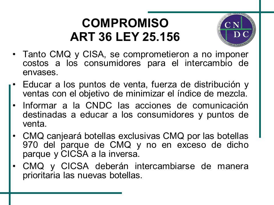 COMPROMISO ART 36 LEY 25.156 CMQ debe intercambiar las botellas 970 y las exclusivas de CICSA que reciba en su planta, contra entrega por parte de CICSA de igual cantidad de botellas exclusivas de CMQ que CICSA hubiera recibido en sus plantas.