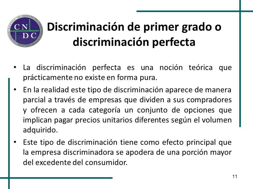 11 Discriminación de primer grado o discriminación perfecta La discriminación perfecta es una noción teórica que prácticamente no existe en forma pura