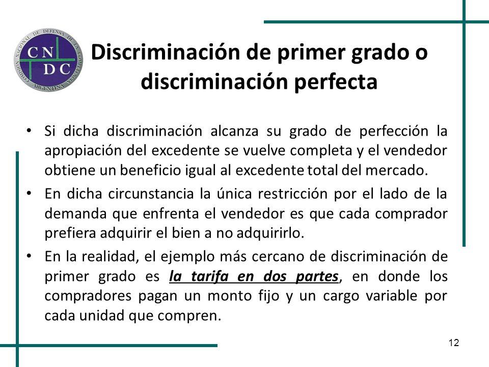 12 Discriminación de primer grado o discriminación perfecta Si dicha discriminación alcanza su grado de perfección la apropiación del excedente se vue