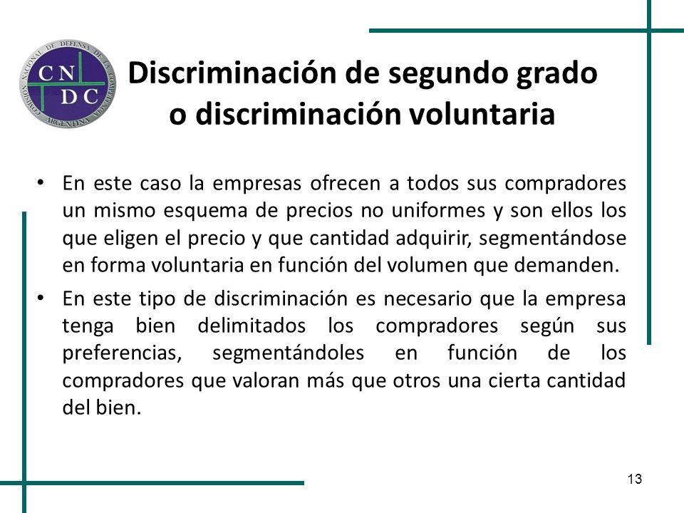 13 Discriminación de segundo grado o discriminación voluntaria En este caso la empresas ofrecen a todos sus compradores un mismo esquema de precios no