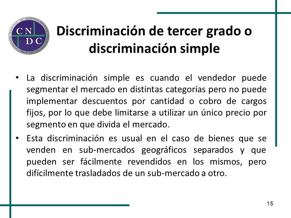 15 Discriminación de tercer grado o discriminación simple La discriminación simple es cuando el vendedor puede segmentar el mercado en distintas categ