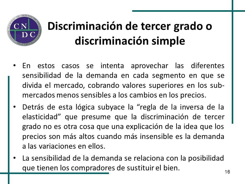 16 Discriminación de tercer grado o discriminación simple En estos casos se intenta aprovechar las diferentes sensibilidad de la demanda en cada segme