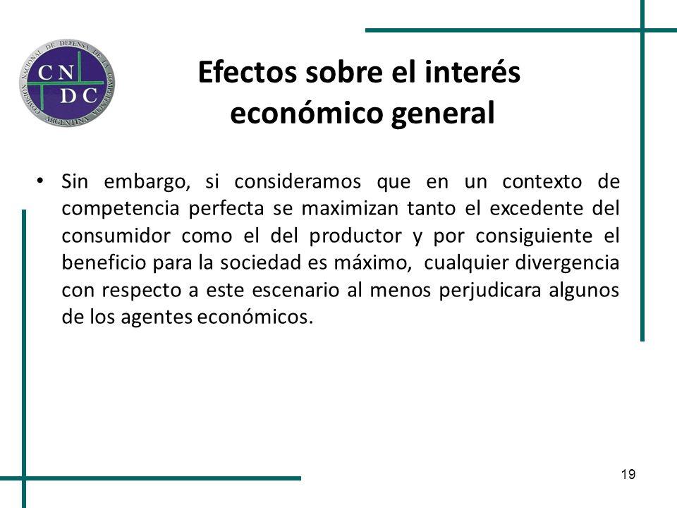 19 Efectos sobre el interés económico general Sin embargo, si consideramos que en un contexto de competencia perfecta se maximizan tanto el excedente