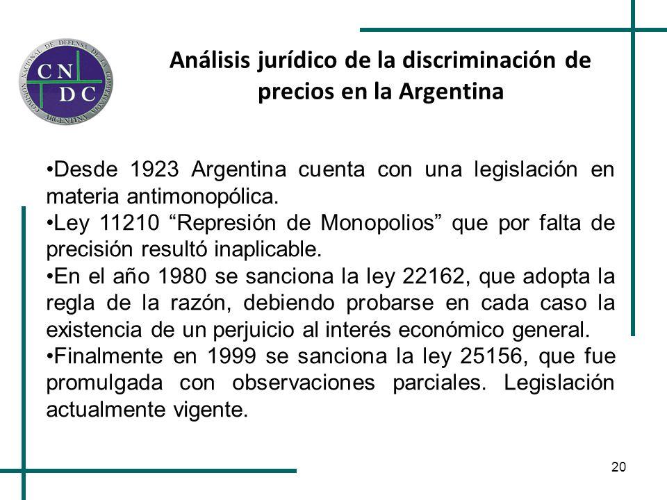 20 Análisis jurídico de la discriminación de precios en la Argentina Desde 1923 Argentina cuenta con una legislación en materia antimonopólica. Ley 11