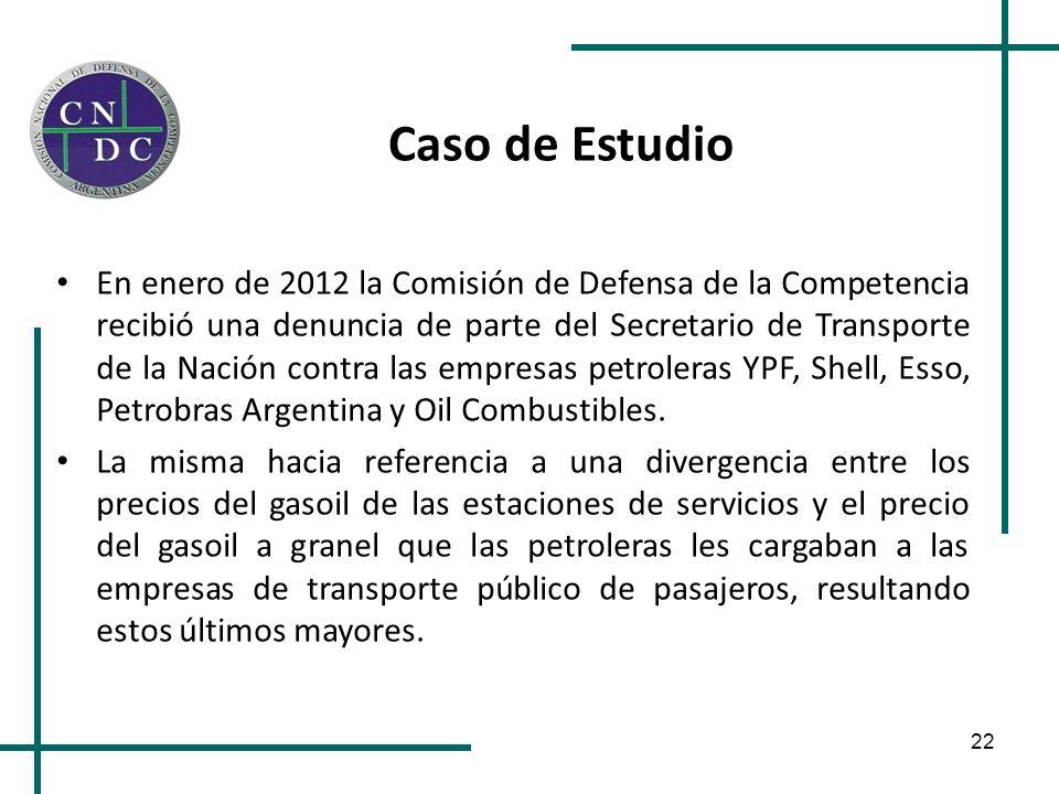 22 Caso de Estudio En enero de 2012 la Comisión de Defensa de la Competencia recibió una denuncia de parte del Secretario de Transporte de la Nación c