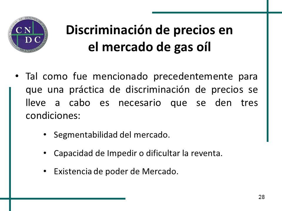 28 Discriminación de precios en el mercado de gas oíl Tal como fue mencionado precedentemente para que una práctica de discriminación de precios se ll