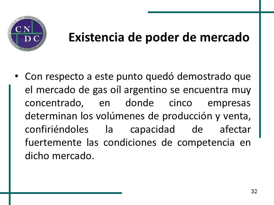 32 Existencia de poder de mercado Con respecto a este punto quedó demostrado que el mercado de gas oíl argentino se encuentra muy concentrado, en dond