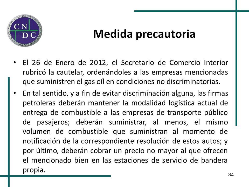 34 Medida precautoria El 26 de Enero de 2012, el Secretario de Comercio Interior rubricó la cautelar, ordenándoles a las empresas mencionadas que sumi