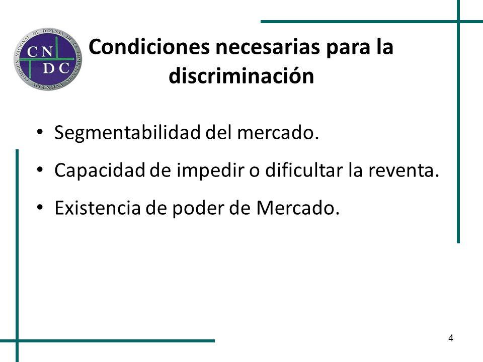 4 Condiciones necesarias para la discriminación Segmentabilidad del mercado. Capacidad de impedir o dificultar la reventa. Existencia de poder de Merc