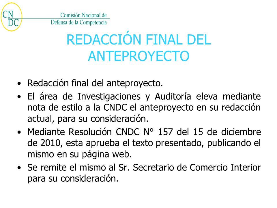 REDACCIÓN FINAL DEL ANTEPROYECTO Redacción final del anteproyecto.