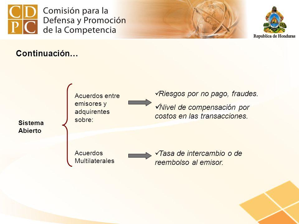 Sistema Abierto Acuerdos entre emisores y adquirentes sobre: Riesgos por no pago, fraudes. Nivel de compensación por costos en las transacciones. Acue