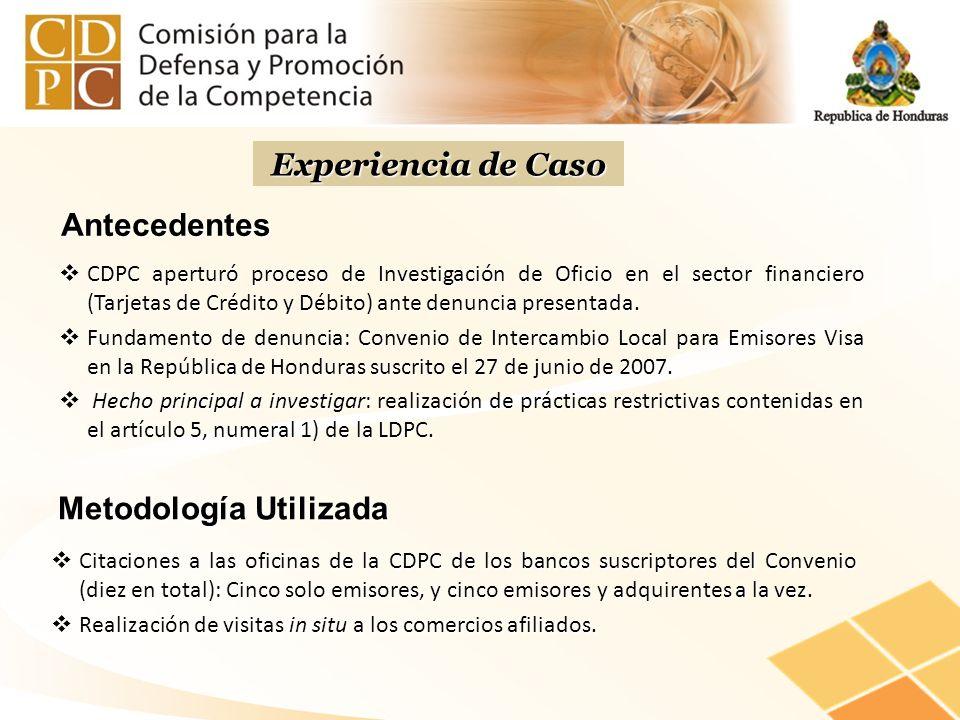 Antecedentes CDPC aperturó proceso de Investigación de Oficio en el sector financiero (Tarjetas de Crédito y Débito) ante denuncia presentada. CDPC ap