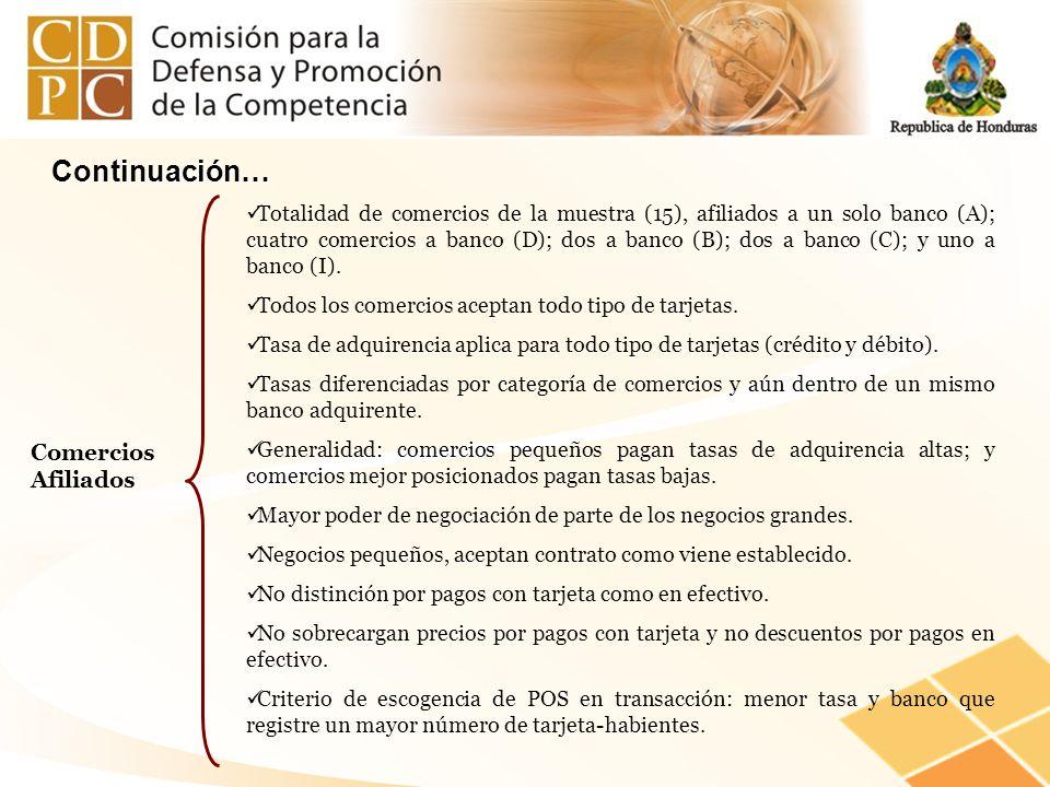 Comercios Afiliados Totalidad de comercios de la muestra (15), afiliados a un solo banco (A); cuatro comercios a banco (D); dos a banco (B); dos a ban