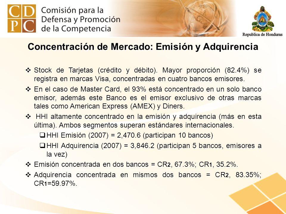Stock de Tarjetas (crédito y débito). Mayor proporción (82.4%) se registra en marcas Visa, concentradas en cuatro bancos emisores. Stock de Tarjetas (