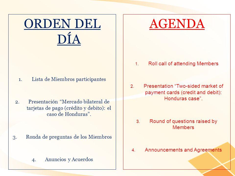ORDEN DEL DÍA 1.Lista de Miembros participantes 2.Presentación Mercado bilateral de tarjetas de pago (crédito y debito): el caso de Honduras. 3.Ronda