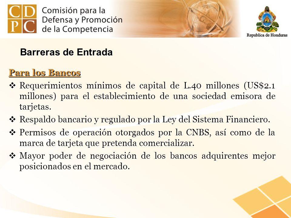 Barreras de Entrada Para los Bancos Requerimientos mínimos de capital de L.40 millones (US$2.1 millones) para el establecimiento de una sociedad emiso