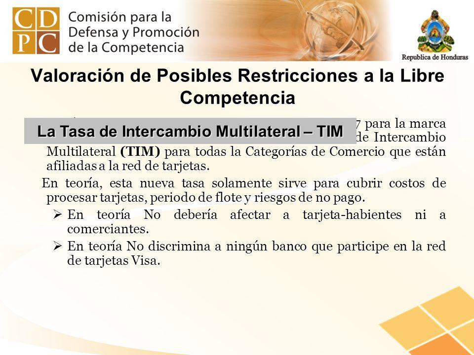 Valoración de Posibles Restricciones a la Libre Competencia ¿Qué fija el Convenio firmado el 27 de junio de 2007 para la marca Visa?. La Tasa de Reemb