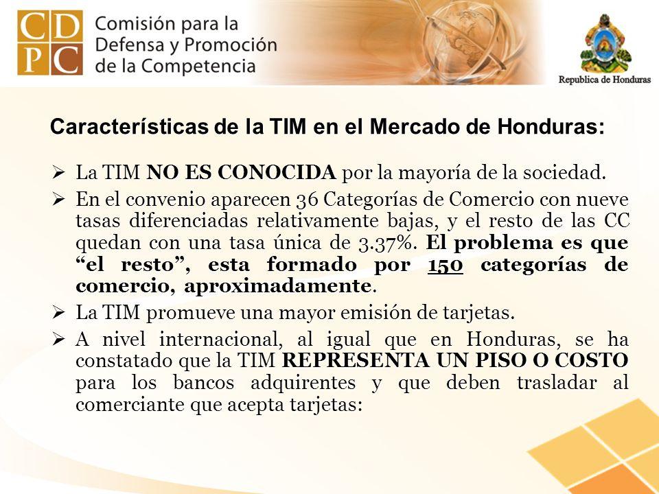 Características de la TIM en el Mercado de Honduras: La TIM NO ES CONOCIDA por la mayoría de la sociedad. La TIM NO ES CONOCIDA por la mayoría de la s