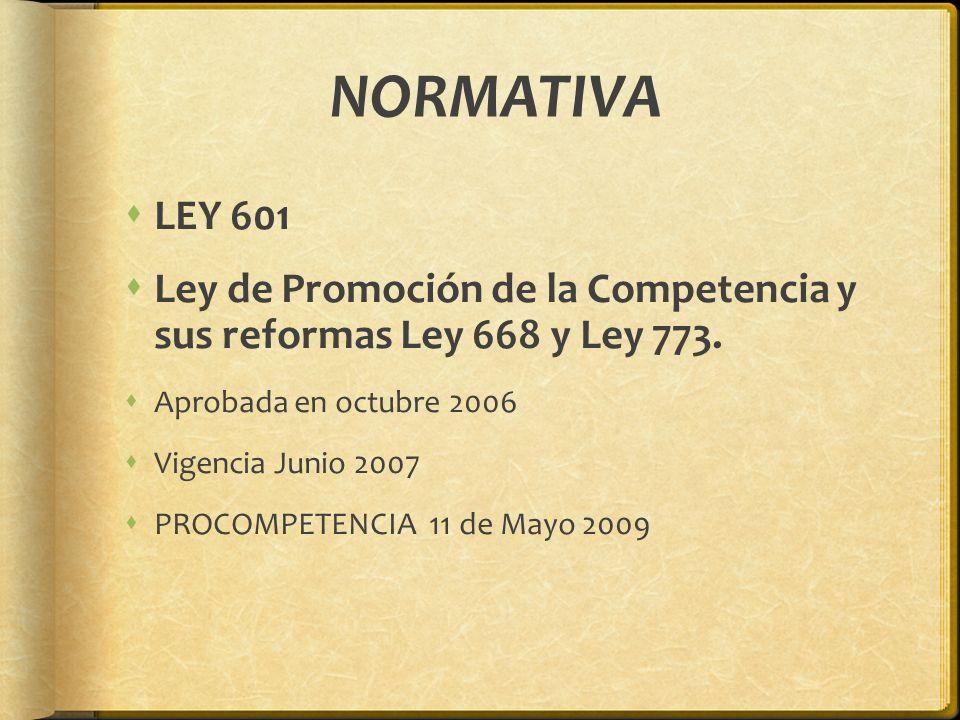 NORMATIVA LEY 601 Ley de Promoción de la Competencia y sus reformas Ley 668 y Ley 773. Aprobada en octubre 2006 Vigencia Junio 2007 PROCOMPETENCIA 11