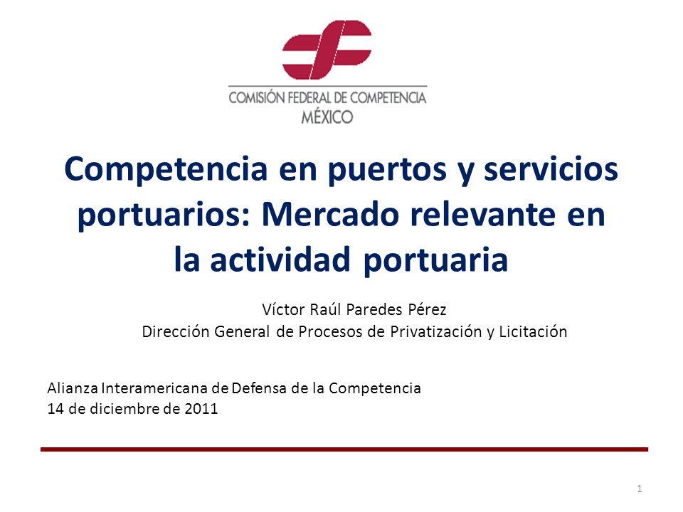 Competencia en puertos y servicios portuarios: Mercado relevante en la actividad portuaria Víctor Raúl Paredes Pérez Dirección General de Procesos de