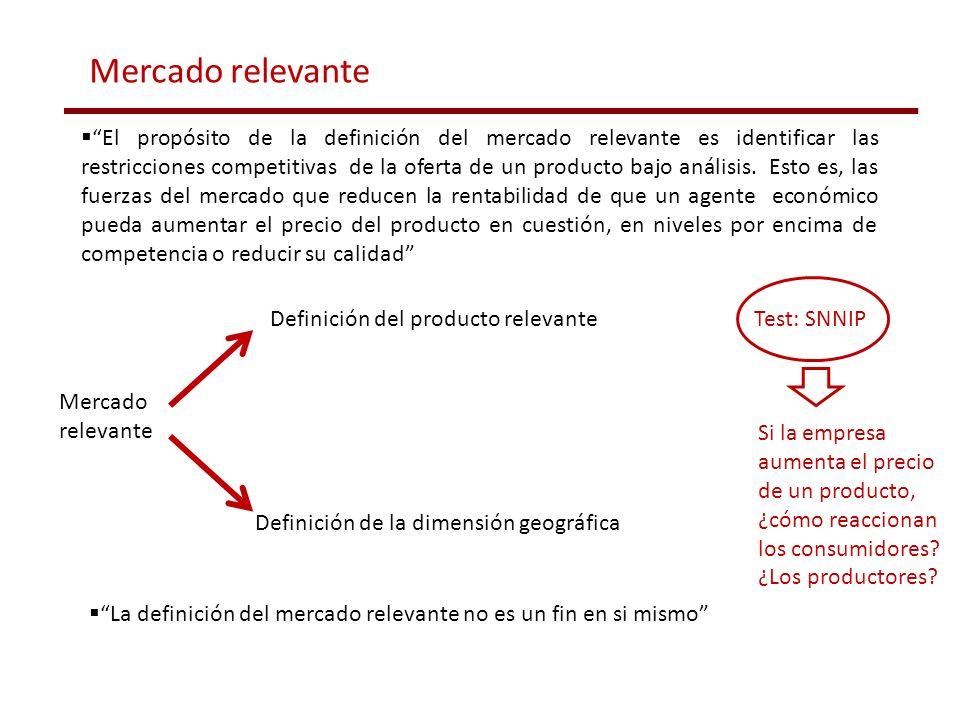 Definición del producto relevante Definición de la dimensión geográfica Mercado relevante El propósito de la definición del mercado relevante es ident