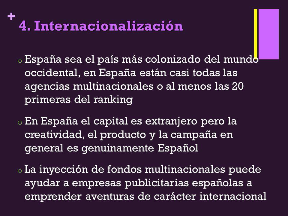 + 4. Internacionalización o España sea el país más colonizado del mundo occidental, en España están casi todas las agencias multinacionales o al menos