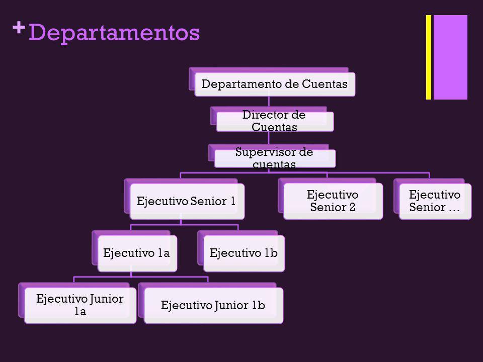 + Departamentos Departamento de Cuentas Director de Cuentas Supervisor de cuentas Ejecutivo Senior 1Ejecutivo 1a Ejecutivo Junior 1a Ejecutivo Junior