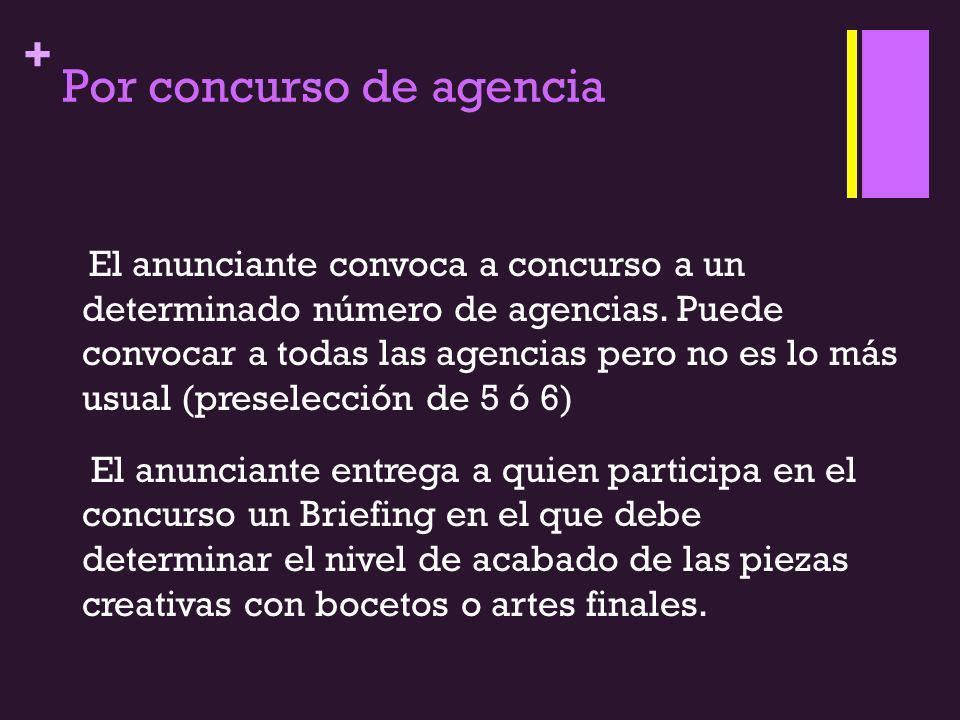 + Por concurso de agencia El anunciante convoca a concurso a un determinado número de agencias. Puede convocar a todas las agencias pero no es lo más