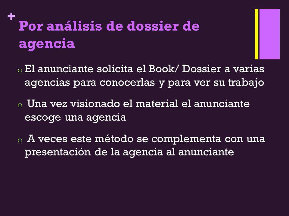 + Por análisis de dossier de agencia o El anunciante solicita el Book/ Dossier a varias agencias para conocerlas y para ver su trabajo o Una vez visio