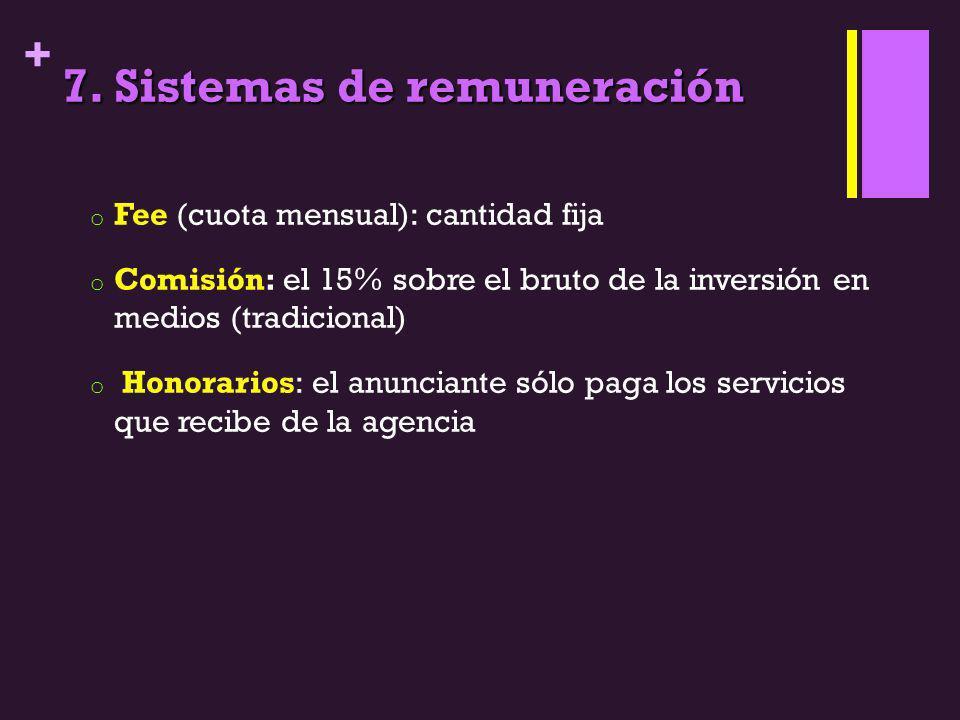 + 7. Sistemas de remuneración o Fee (cuota mensual): cantidad fija o Comisión: el 15% sobre el bruto de la inversión en medios (tradicional) o Honorar