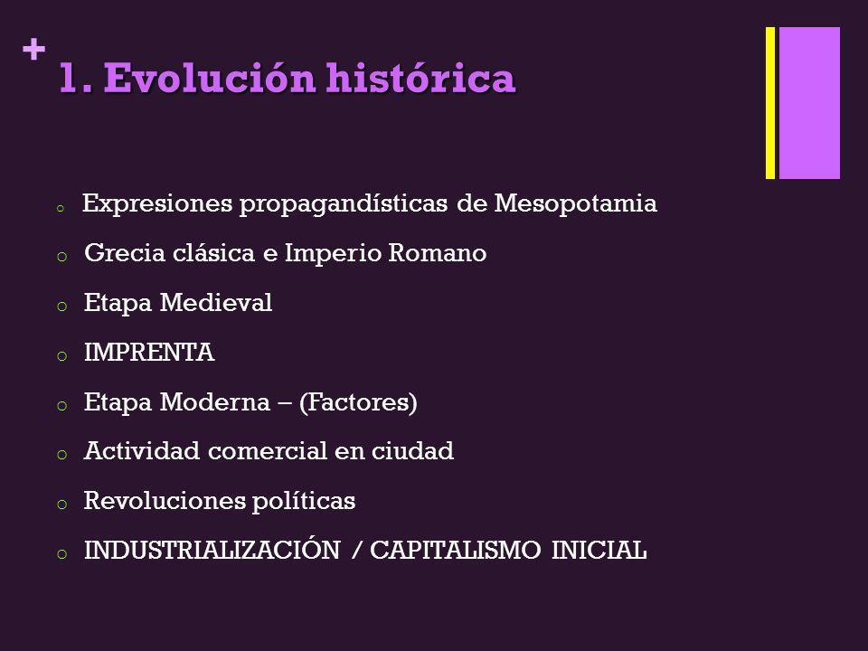 + 1. Evolución histórica o Expresiones propagandísticas de Mesopotamia o Grecia clásica e Imperio Romano o Etapa Medieval o IMPRENTA o Etapa Moderna –