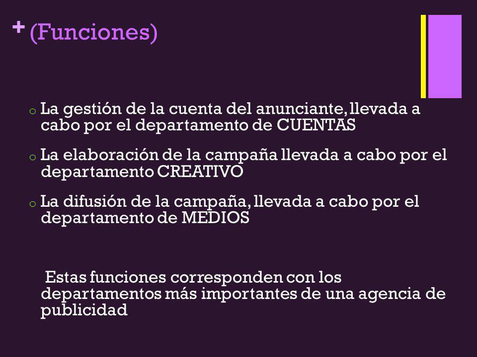 + (Funciones) o La gestión de la cuenta del anunciante, llevada a cabo por el departamento de CUENTAS o La elaboración de la campaña llevada a cabo po