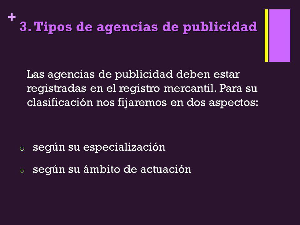 + 3. Tipos de agencias de publicidad Las agencias de publicidad deben estar registradas en el registro mercantil. Para su clasificación nos fijaremos