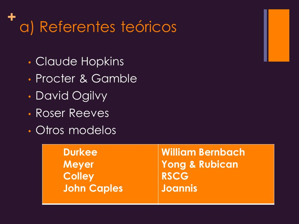 + a) Referentes teóricos Claude Hopkins Procter & Gamble David Ogilvy Roser Reeves Otros modelos Durkee Meyer Colley John Caples William Bernbach Yong