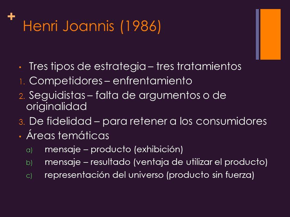 + Henri Joannis (1986) Tres tipos de estrategia – tres tratamientos 1.