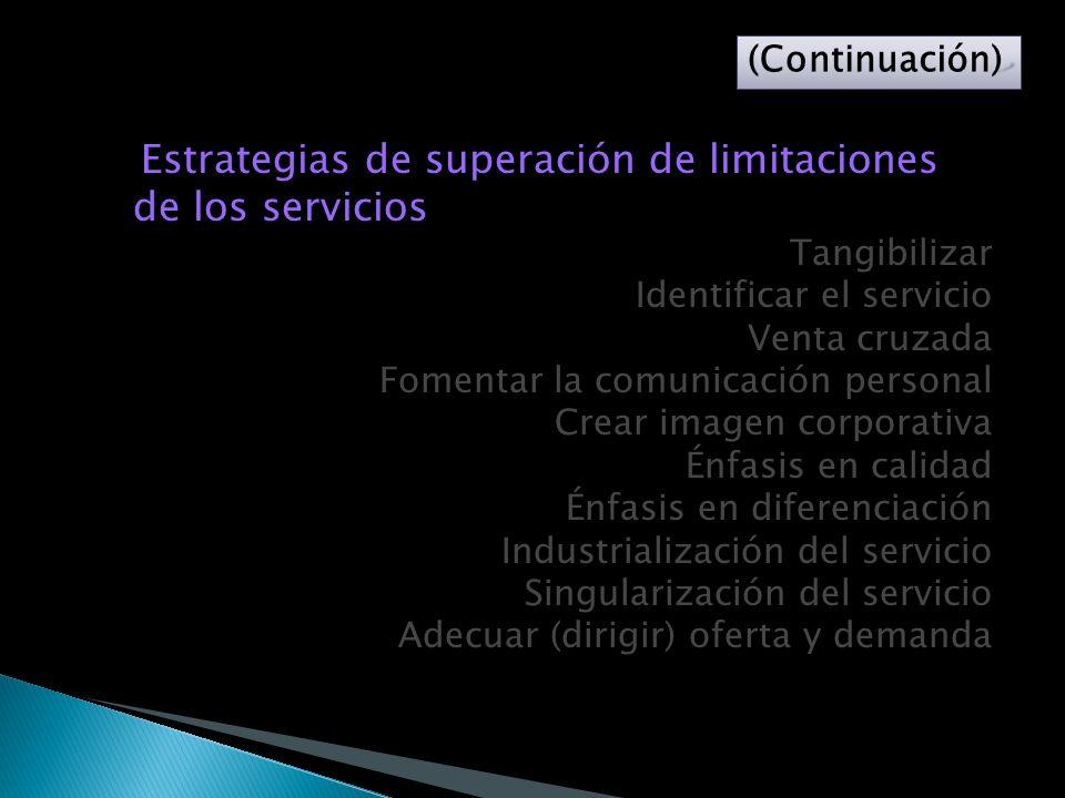 Estrategias de superación de limitaciones de los servicios Tangibilizar Identificar el servicio Venta cruzada Fomentar la comunicación personal Crear imagen corporativa Énfasis en calidad Énfasis en diferenciación Industrialización del servicio Singularización del servicio Adecuar (dirigir) oferta y demanda