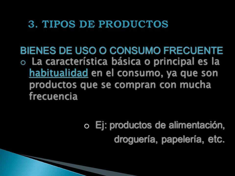BIENES DE USO O CONSUMO FRECUENTE o La característica básica o principal es la habitualidad en el consumo, ya que son productos que se compran con mucha frecuencia o Ej: productos de alimentación, droguería, papelería, etc.
