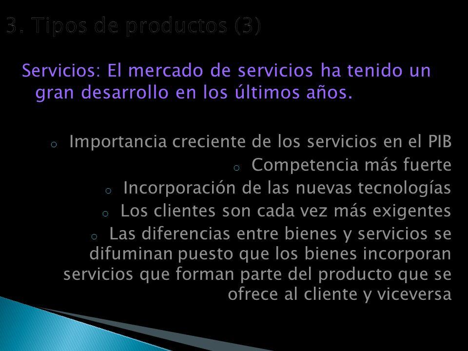 Servicios: E l mercado de servicios ha tenido un gran desarrollo en los últimos años.