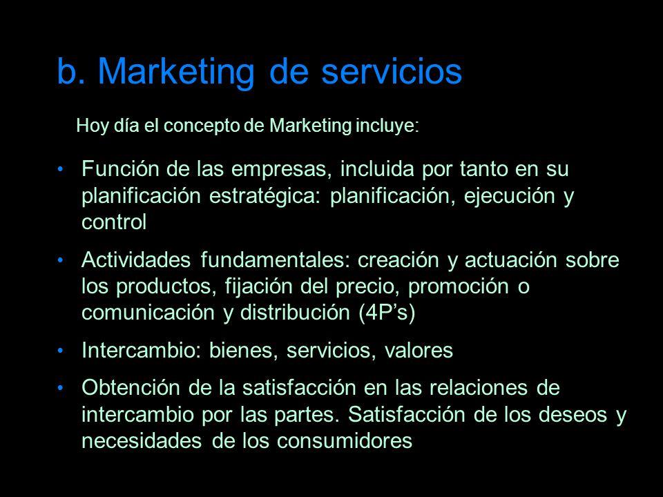 b. Marketing de servicios Hoy día el concepto de Marketing incluye: Función de las empresas, incluida por tanto en su planificación estratégica: plani