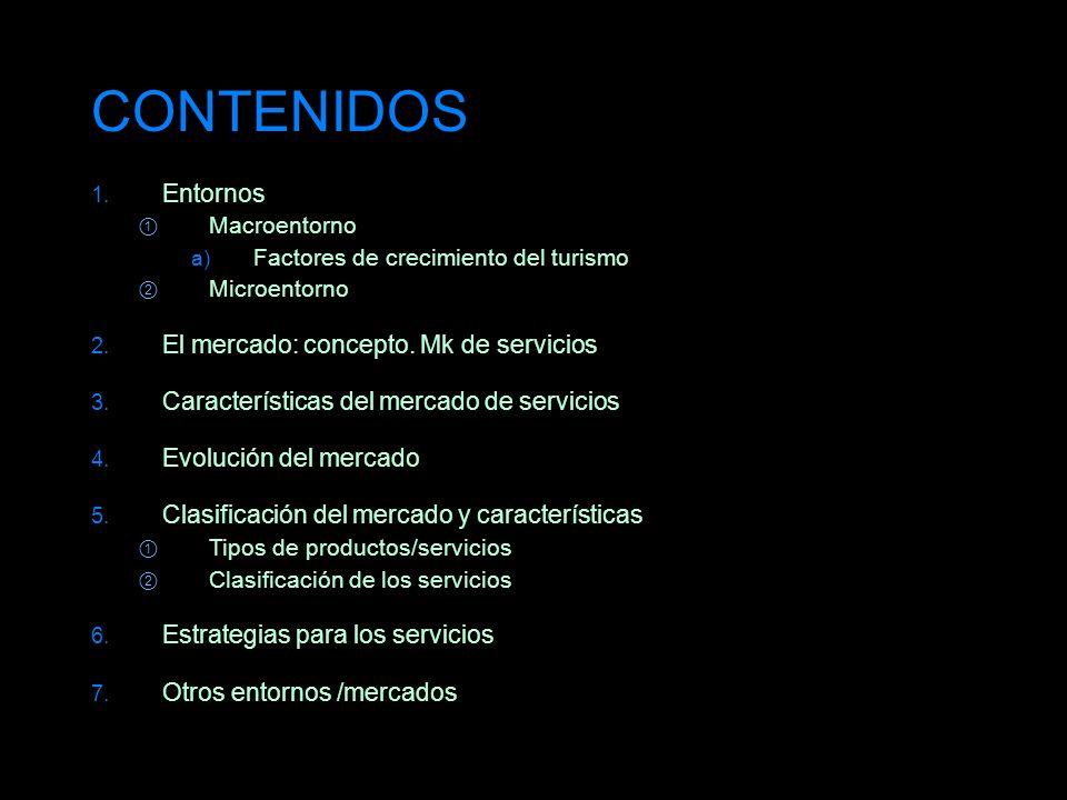 CONTENIDOS 1. Entornos Macroentorno a) Factores de crecimiento del turismo Microentorno 2. El mercado: concepto. Mk de servicios 3. Características de