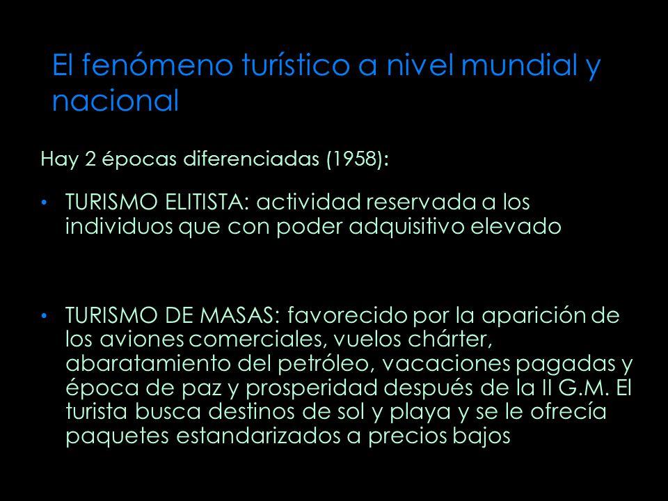 El fenómeno turístico a nivel mundial y nacional Hay 2 épocas diferenciadas (1958): TURISMO ELITISTA: actividad reservada a los individuos que con pod