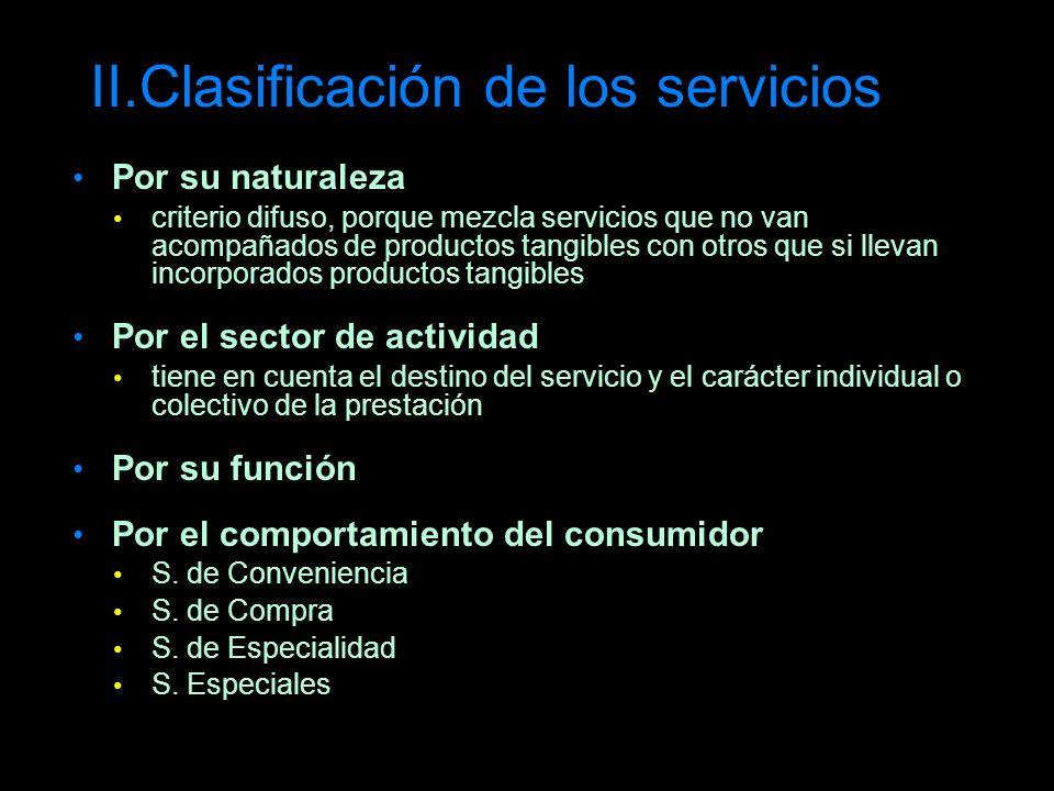 II.Clasificación de los servicios Por su naturaleza criterio difuso, porque mezcla servicios que no van acompañados de productos tangibles con otros q