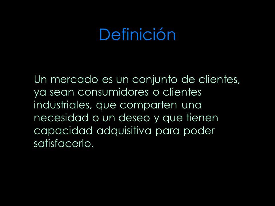 Definición Un mercado es un conjunto de clientes, ya sean consumidores o clientes industriales, que comparten una necesidad o un deseo y que tienen ca