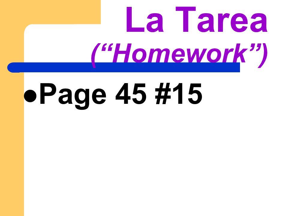 La Tarea (Homework) Page 45 #15