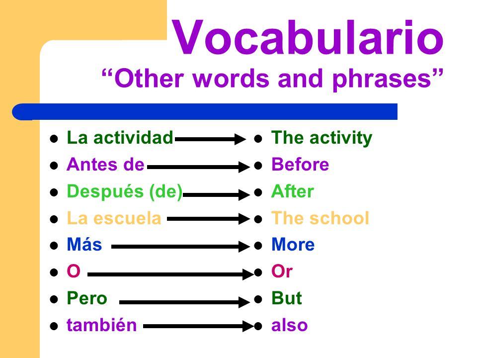 Vocabulario Other words and phrases La actividad Antes de Después (de) La escuela Más O Pero también The activity Before After The school More Or But also