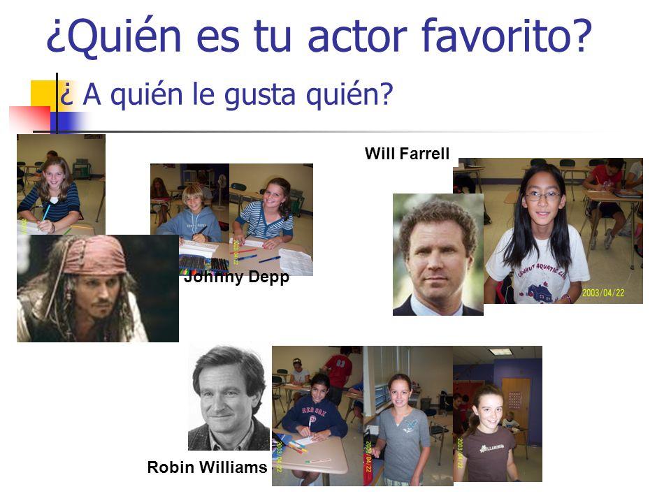 ¿Quién es tu actor favorito? ¿ A quién le gusta quién? Johnny Depp Robin Williams Will Farrell