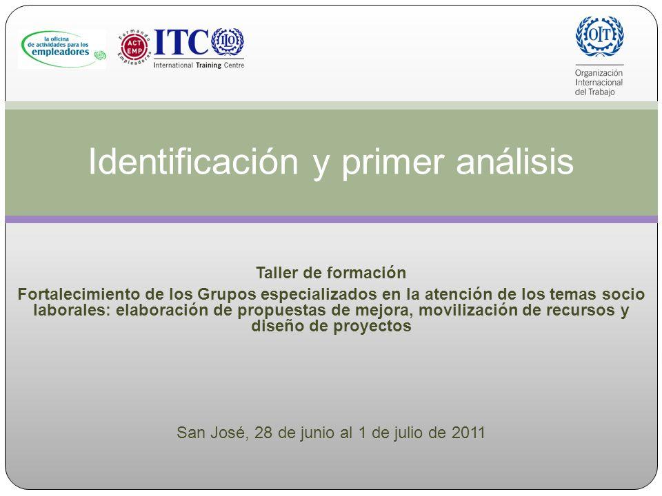 Identificación y primer análisis Taller de formación Fortalecimiento de los Grupos especializados en la atención de los temas socio laborales: elabora