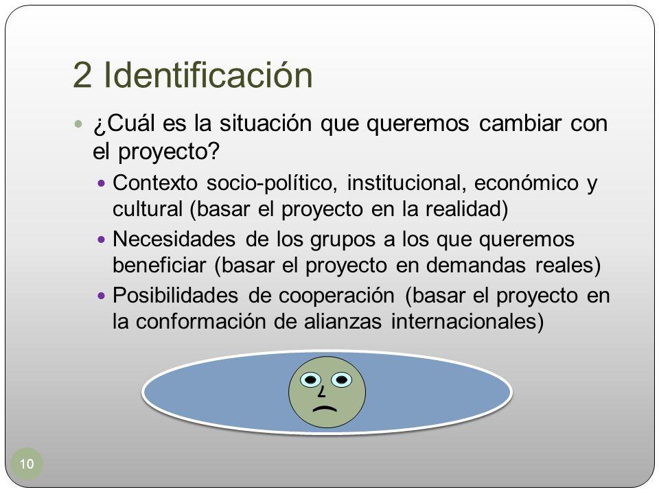 2 Identificación 10 ¿Cuál es la situación que queremos cambiar con el proyecto? Contexto socio-político, institucional, económico y cultural (basar el