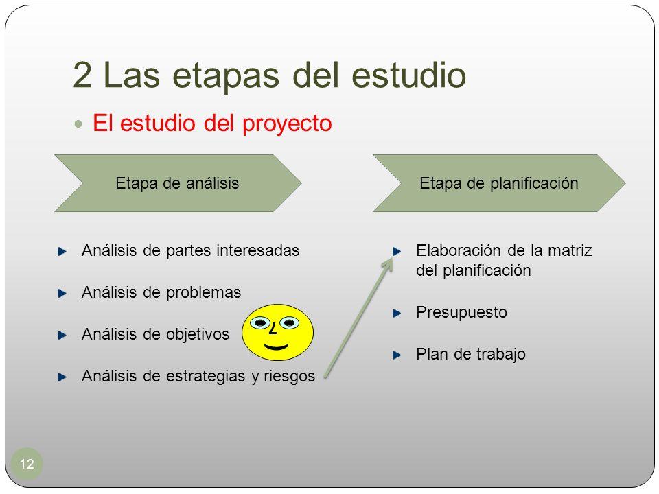 2 Las etapas del estudio 12 El estudio del proyecto Etapa de análisisEtapa de planificación Análisis de partes interesadas Análisis de problemas Análi